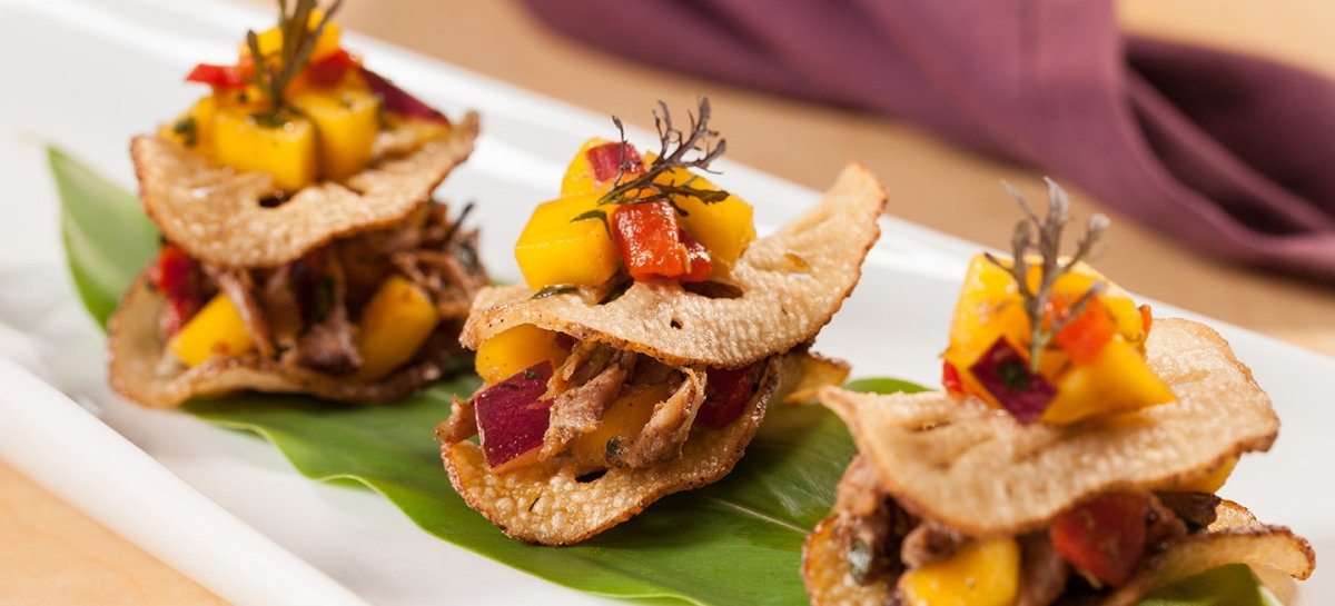 Jerk duck and mango salsa lotus root sliders
