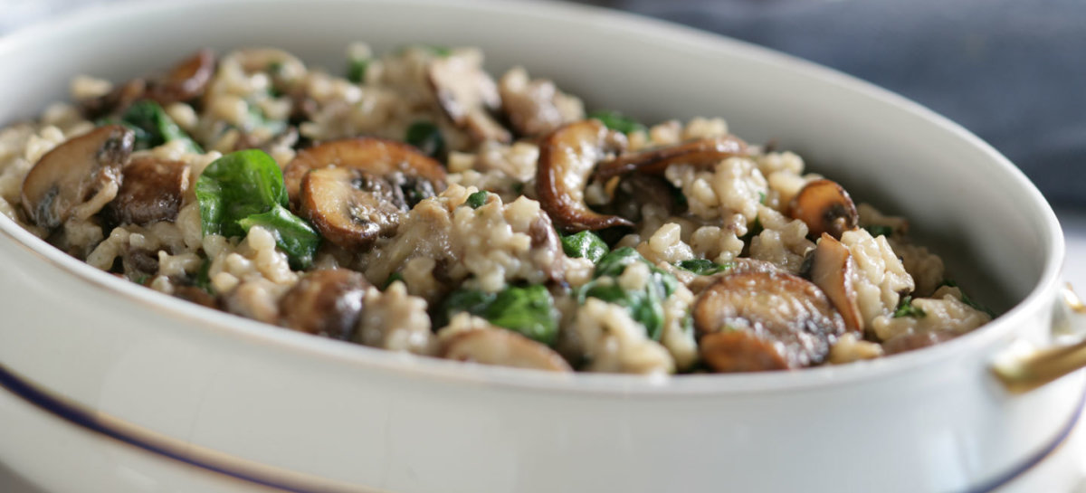 Risotto with exotic mushrooms and spinach