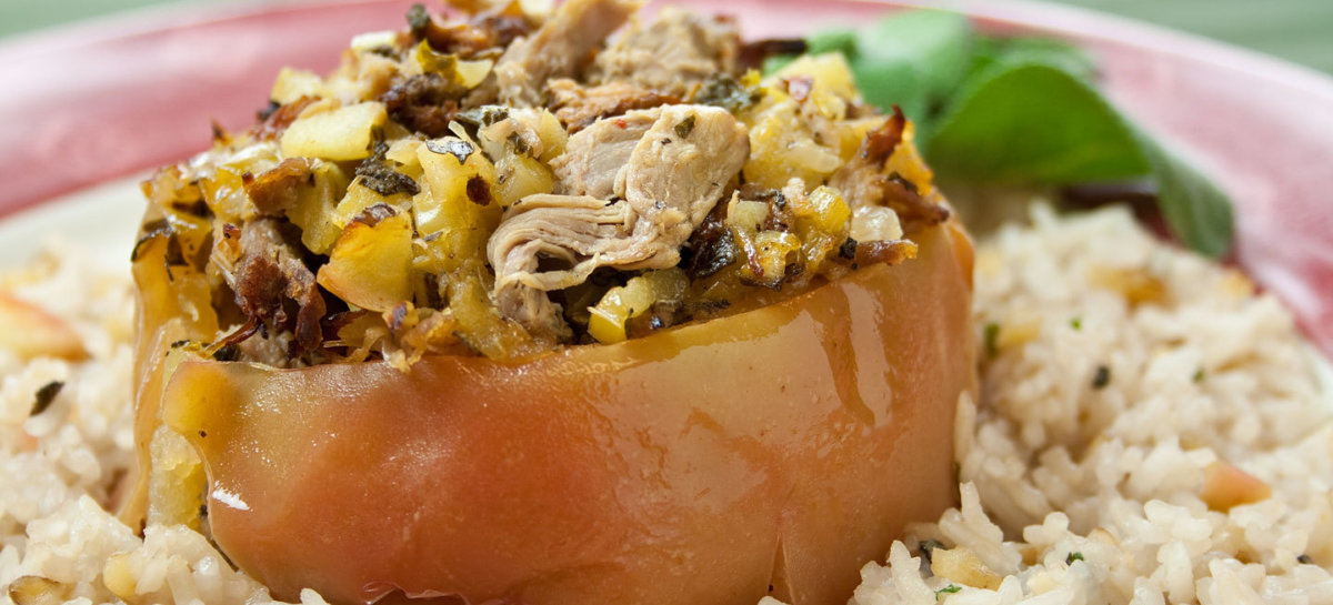 Savory duck stuffed baked apples with walnut herb rice