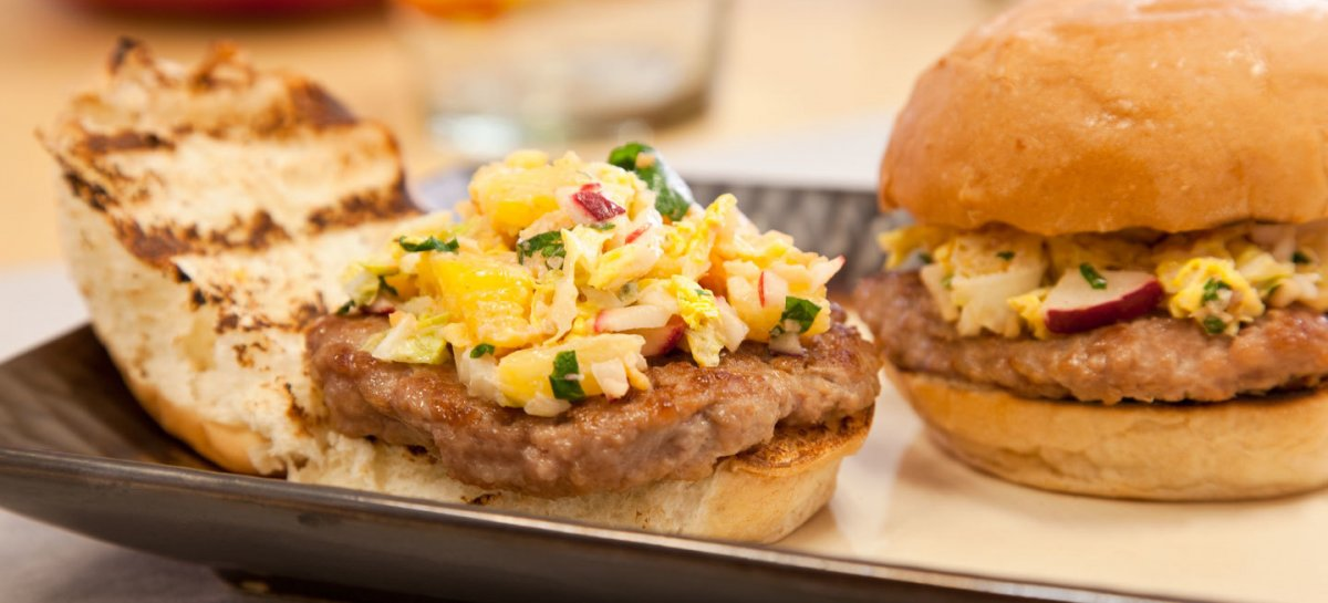 Thai style duck sliders with spicy pineapple slaw