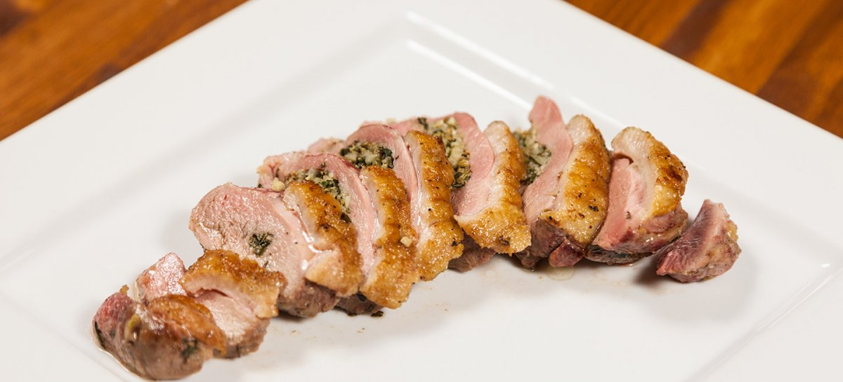 Tuscan style stuffed duck breasts