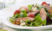 Duck salad with rasberry walnut vinaigrette and bleu cheese
