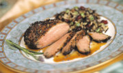 Pepper crusted duck breast with tangerine basil