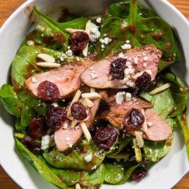 Cherry glazed duck breast salad
