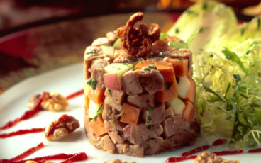 Preserved duck sweet potato and apple salad