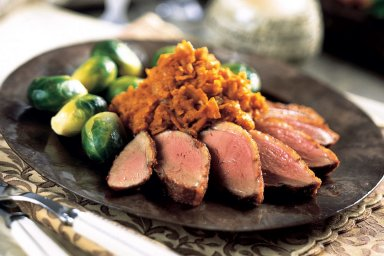 Berbere duck and spiced jewel yams with brussel sprouts