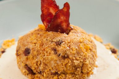 Candied duck bacon maple fried ice cream