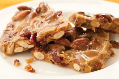 Duck bacon and smoked almond brittle