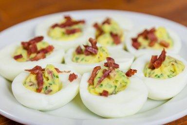 Duck bacon deviled eggs