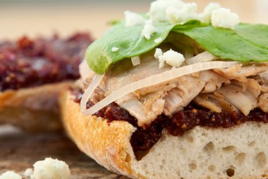 Duck baguette with cherry fig jam