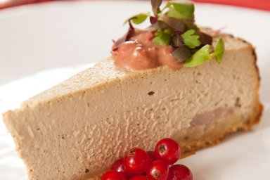 Duck liver cheesecake with red currant sauce