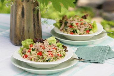 Duck tabbouleh salad
