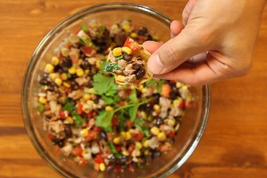 Duck with black bean and sweet corn salsa