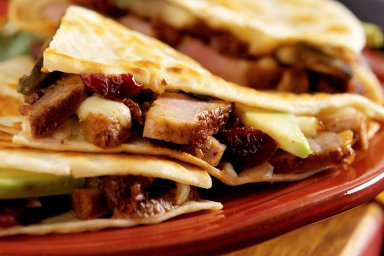Duckadillas with cranberry jalapeno sauce