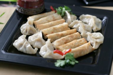 Garlic duck breast potstickers