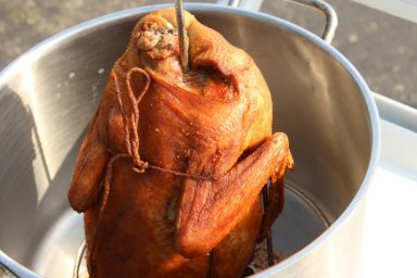 How to deep fry a whole duck