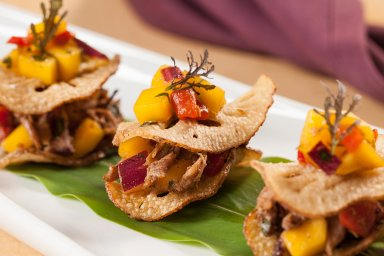 Jerk duck and mango salsa lotus root sliders