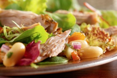 Pulled duck and white bean salad