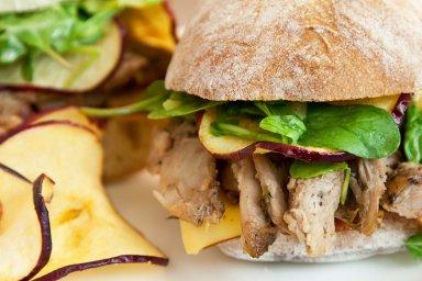 Pulled duck ciabatta sandwich