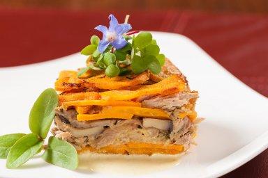 Sweet potato duck pave