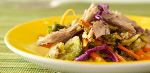 Asian brussels sprout salad with duck leg confit