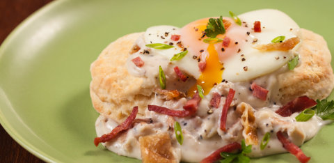 Buttermilk biscuits and duck gravy