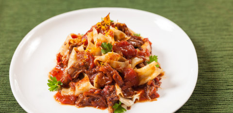 Duck sugo with egg yolk pappardelle