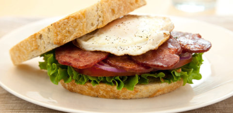 New american blt with duck bacon