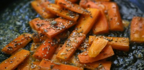 Sesame carrots roasted in duck fat