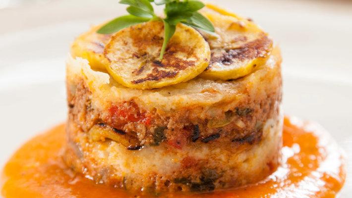 Duck and sweet plantain lasagna pastelon