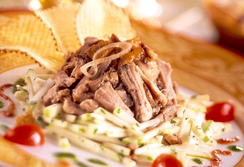 Confit duck salad with gaufrette potato crisps