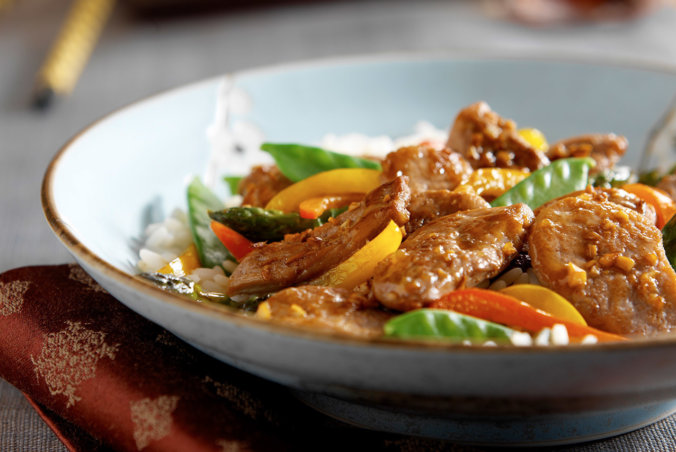 Duck stir fry in bowl