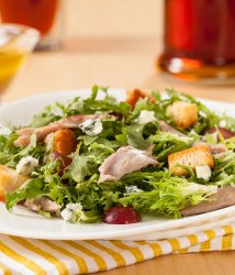 Pulled duck meat frisee salad