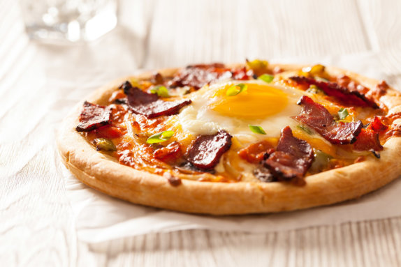 Duck bacon breakfast pizza