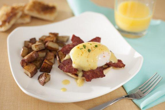 Duck eggs benidict bacon