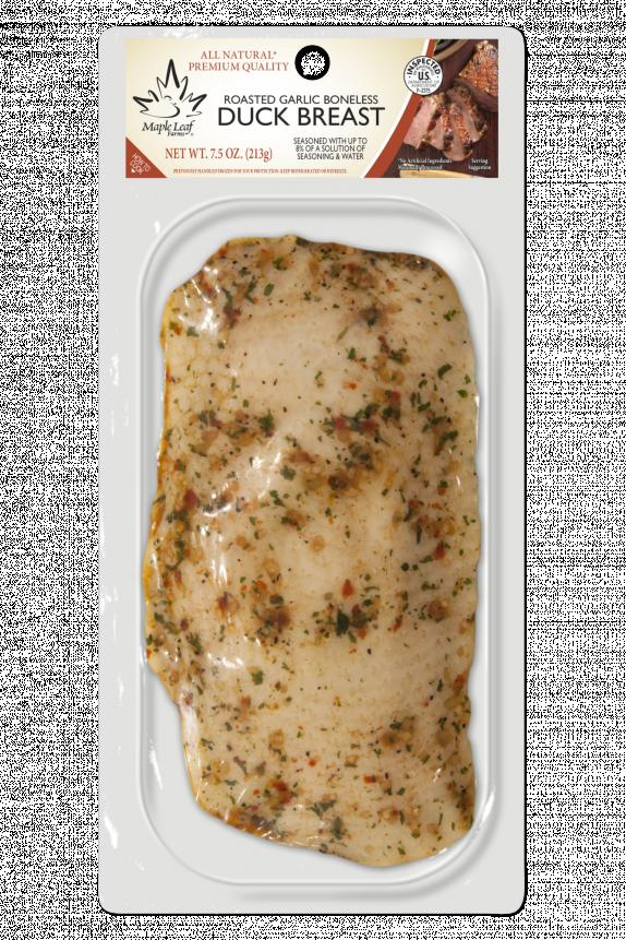 Retail roasted garlic duck breast