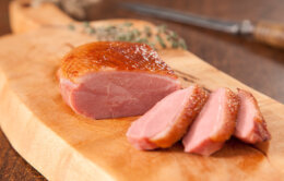 Smoked duck breast sliced