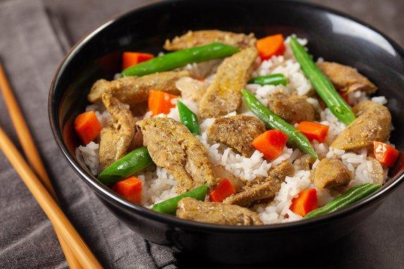 Southeast asian duck tenders in bowl