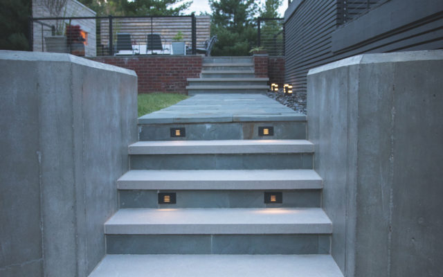Residential pool concrete steps