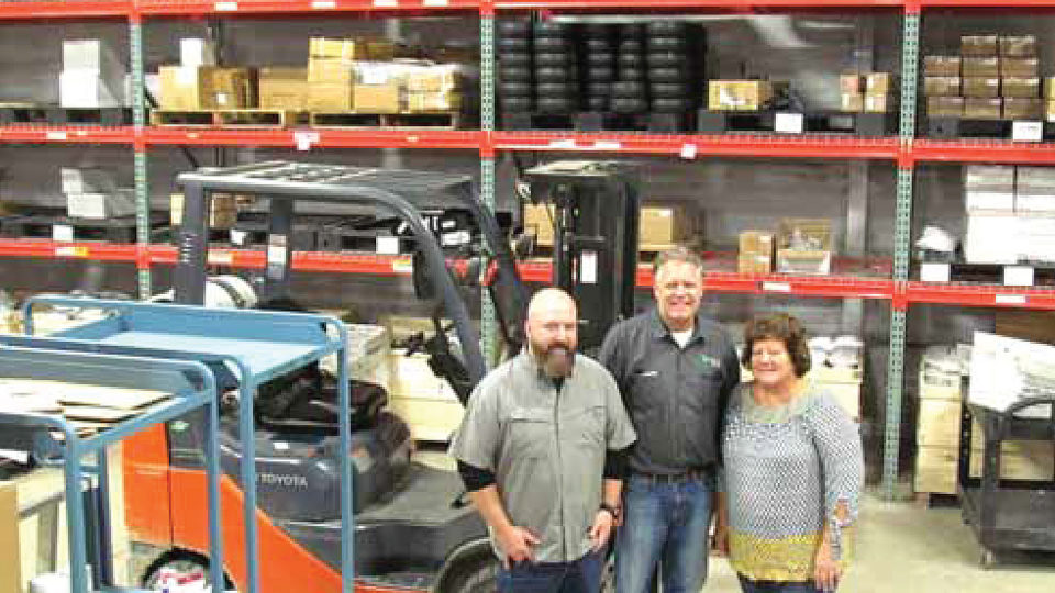 Three owners of The ROP Shop and Outdoor Concepts in the warehouse.