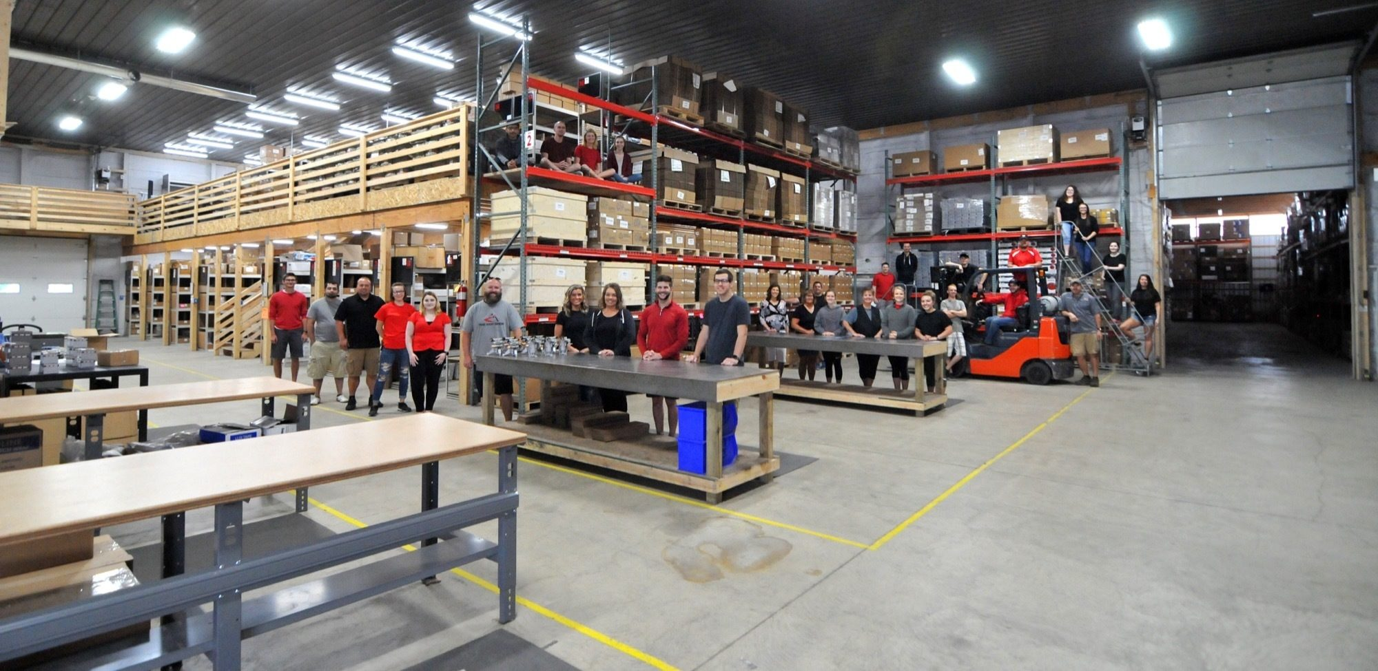 Warehouse view of The ROP Shop team.
