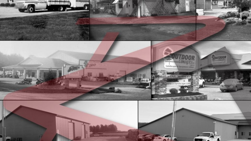 Company location pictures over time with logo embossed over them.