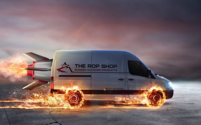 Delivery van with rocket attached and flames coming off wheels to represent speed.