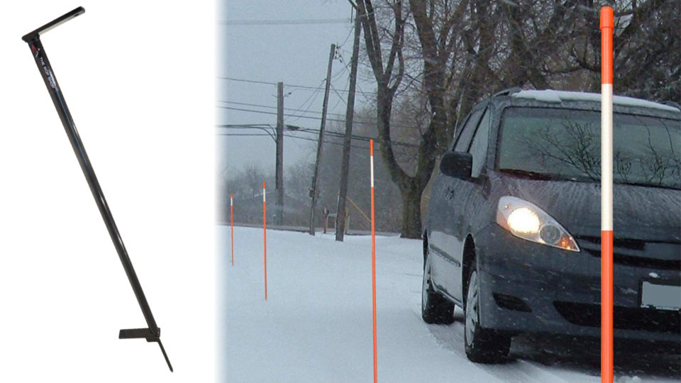 Driveway Marker Snow Stake Installation tool with car near snow stakes.