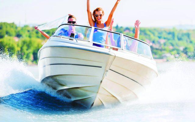 People enjoying a motor boat ride