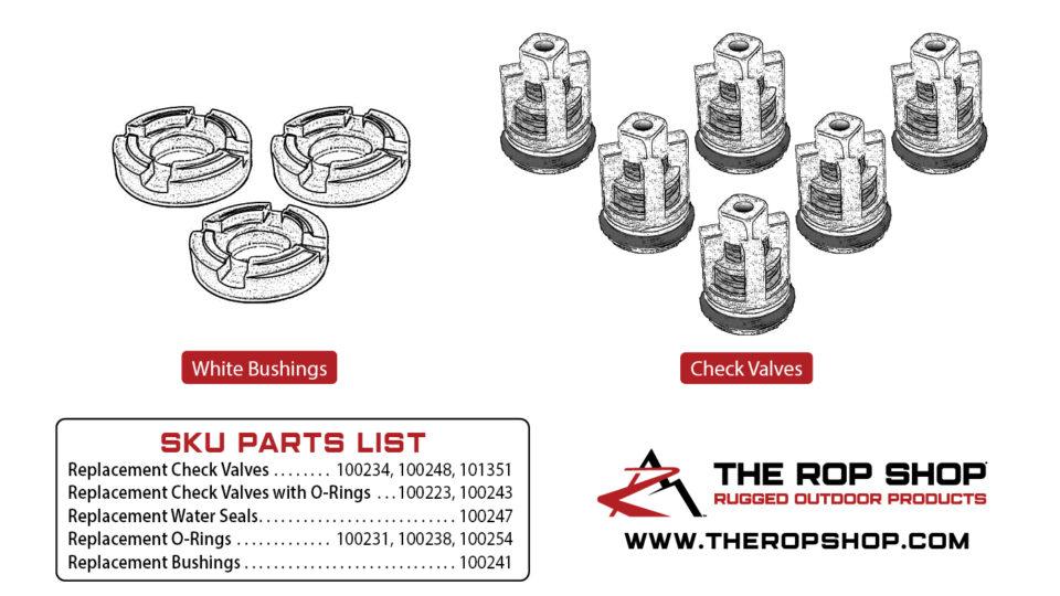 White Bushings - 100241 and Check Valves - 100234, 100248, 101351