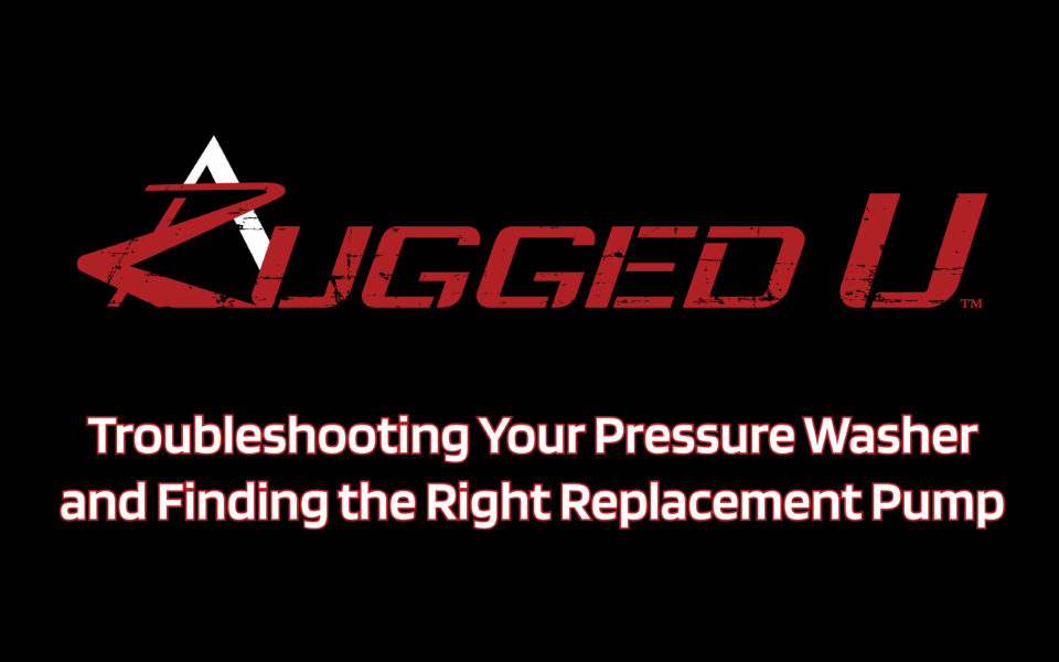 In this Rugged U video we look at troubleshooting pressure problems with your pressure washer. We also provide you with a link below to help you select the right replacement pump if you are unable to fix the problems you are having. Then to cap it off, be sure to watch our other Rugged U video that guides you through the installation process of removing, prepping and installing a new pump. See the links below for more helpful information.