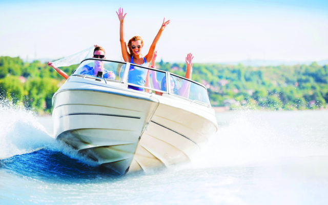 People on motorboat having fun.