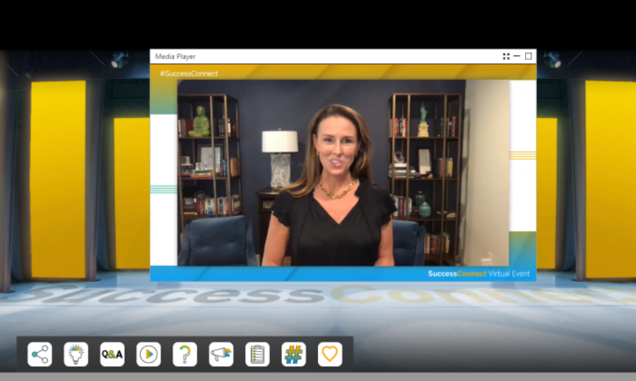 SAP SuccessFactors President Jill Popelka on virtual stage for SuccessConnect