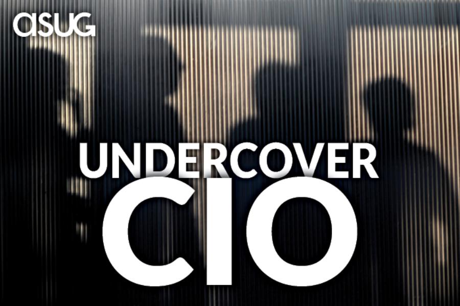 shadows of people behind a closed-door meeting with ASUG Undercover CIO logo